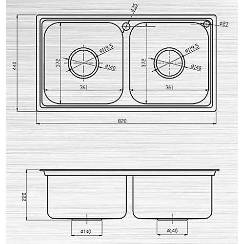 Kích thước bồn rửa chén đôi không có bàn để chén