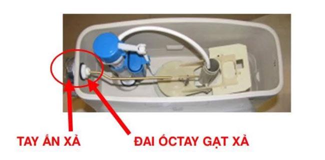 Kiểm tra tay gạt hoặc nút nhấn xả nước