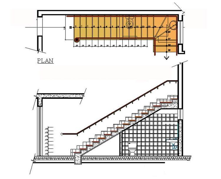 Bản vẽ nhà vệ sinh dưới gầm cầu thang bên góc phải