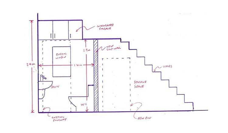 Mẫu bản vẽ sơ lược nhà vệ sinh dưới chân cầu thang